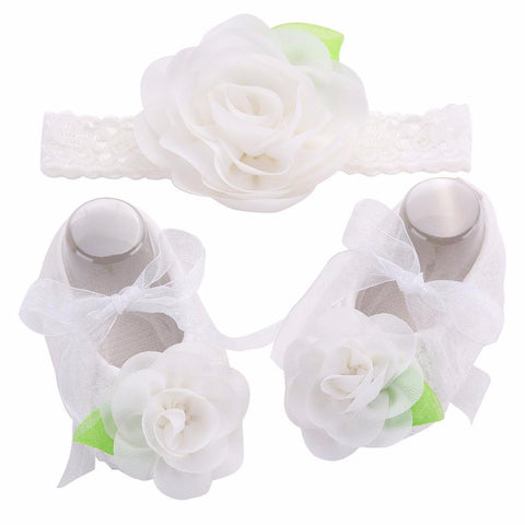 Angel Collection (Set) : Snow White Flowers Shoes & Angel Lace Headband For Baby Angel (In One Set)!