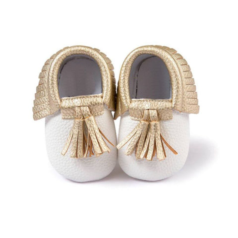 White Moccasin with Gold Tassel - Soft PU Leather For Baby & Toddler