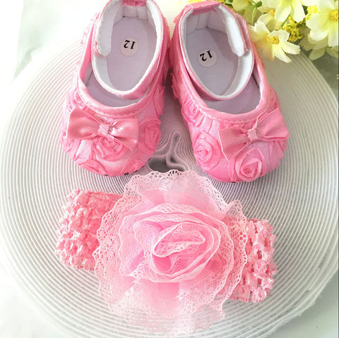 Pink Little Flowers Shoes & Princess Lace Headband For Cute Baby Girl (In One Set)!