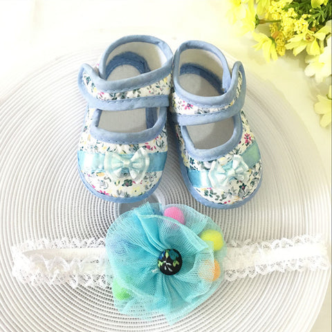 Floral Toddler Shoes & Princess Lace Headband (In One Set)!