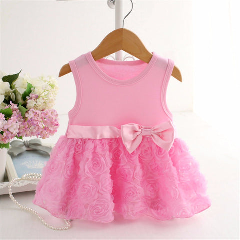 2018 New Baby Girls Pink Flower Dresses (0-5 Years)