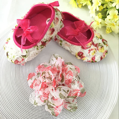 Pink Floral Toddler Shoes & Princess Lace Headband (In One Set)!