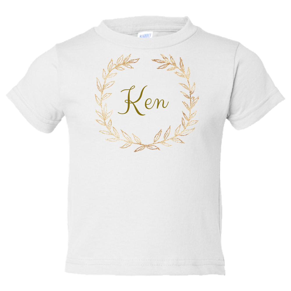 Unique Personalized Custom Name Initial Golden Wreath Toddler Tees Family Matching Clothing Set