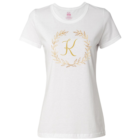 Unique Personalized Custom Name Initial Golden Wreath Ladies Classic Tees Family Matching Clothing Set