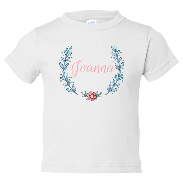 Unique Tee Personalized Wreath Custom Name Initial Winter Toddler Tees Family Matching Clothing Set (Winter Wreath Collection)