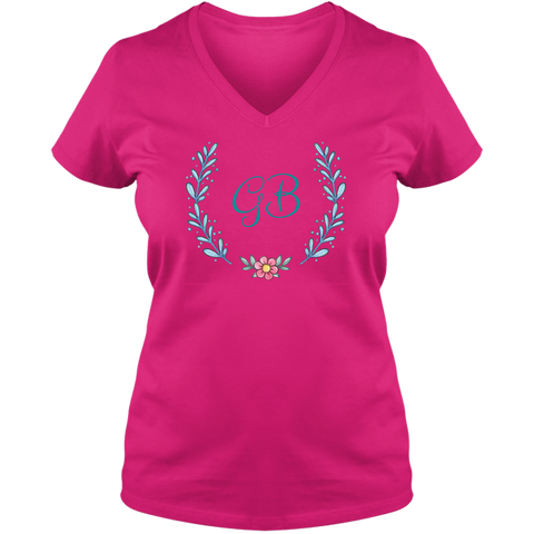 Unique Tee Personalized Wreath Custom Name Initial Winter  Ladies V Neck Tee Family Matching Clothing Set (Winter Wreath Collection)
