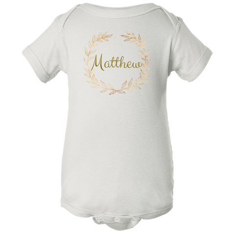 Unique Personalized Custom Name Initial Golden Wreath Baby Body Suit Family Matching Clothing Set