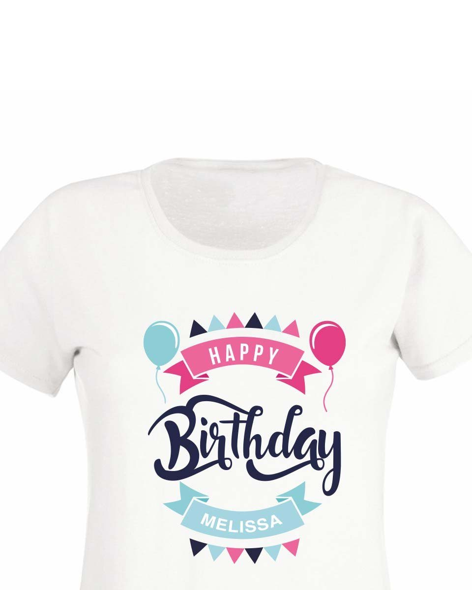 Personalised Girly Happy Birthday T Shirt