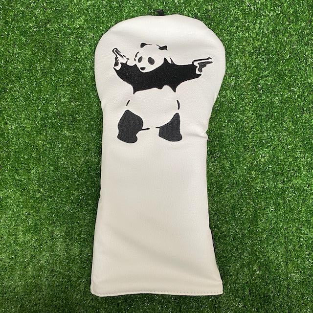 """Panda with Guns"" Driver Cover The Back Nine Online - Custom HeadCovers & Custom Golf Bags"