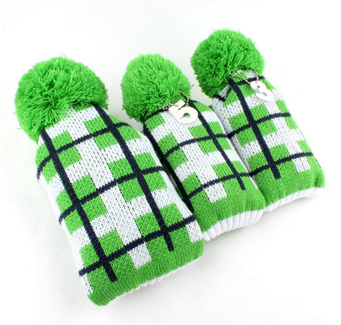 Retro Knitted Grid Wood Cover Set - 1, 3, 5 The Back Nine Online - Custom HeadCovers & Custom Golf Bags