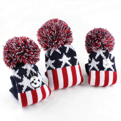 Retro Knitted USA Flag Wood Cover Set - 1, 3, 5 The Back Nine Online - Custom HeadCovers & Custom Golf Bags
