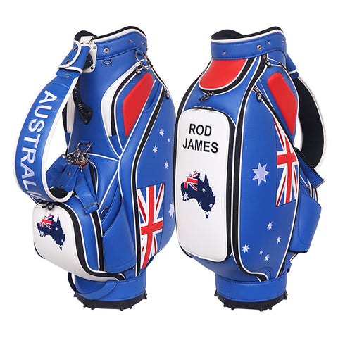 Australian Flag Custom Staff Bag - Championship The Back Nine Online - Custom HeadCovers & Custom Golf Bags
