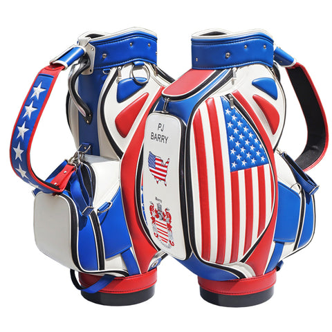 Stars and Stripes Tournament Staff Bag The Back Nine Online - Custom HeadCovers & Custom Golf Bags