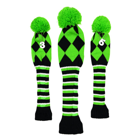 Retro Knitted Diamond Wood Cover Set - 1, 3, 5 The Back Nine Online - Custom HeadCovers & Custom Golf Bags