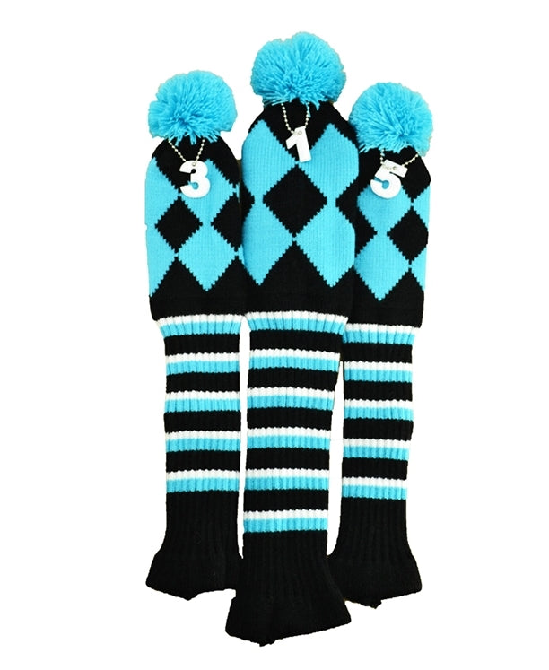 Retro Pom Pom Knitted Diamond Wood Cover Set - 1, 3, 5 The Back Nine Online - Custom HeadCovers & Custom Golf Bags