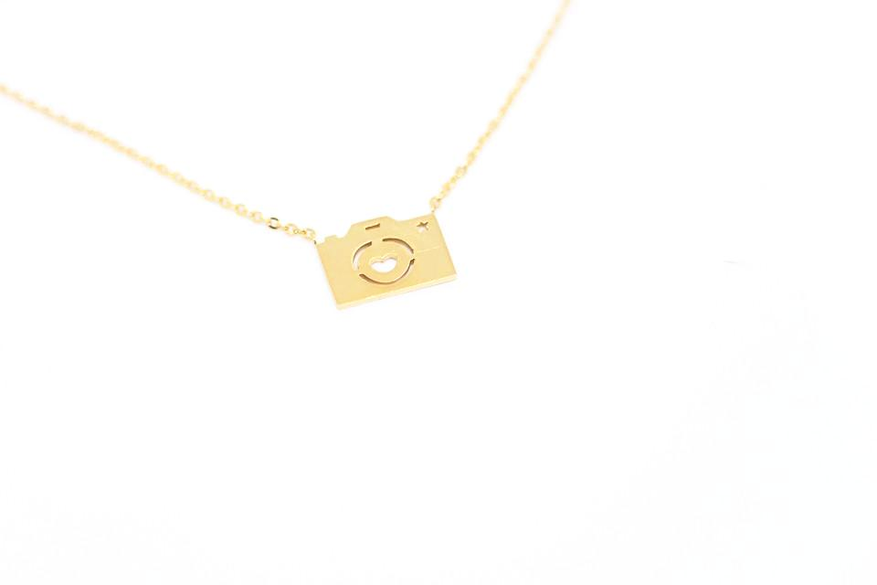 gold plated camera necklace