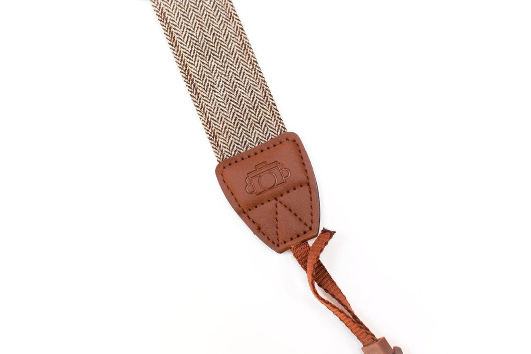 tweed camera strap with leather detail