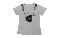 children camera t shirt grey