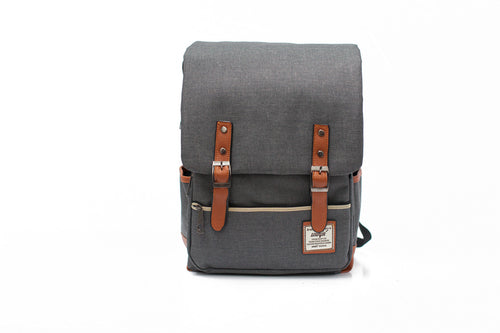Grey Camera Canvas Backpack