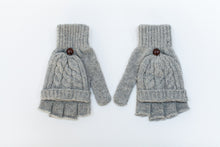 Photographers knitted fingerless grey gloves