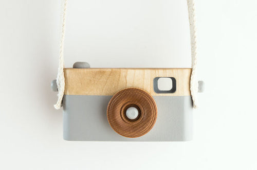 wooden toy camera grey