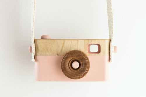 wooden toy camera pink