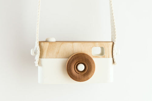 White painted wooden camera toy