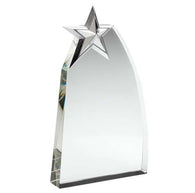 Clear glass block with metal star - small
