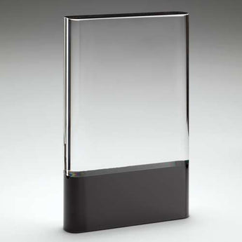 Optical clear glass plaqueon black base