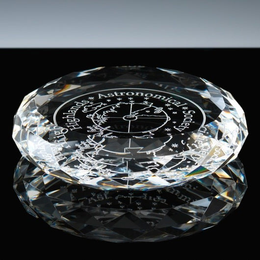 WhiteFire optical crystal round paperwewight