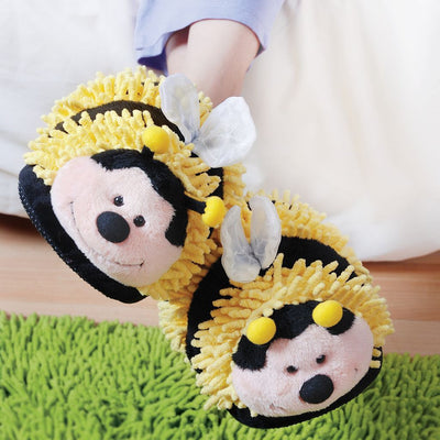 Aroma Home Fuzzy Friends Slippers - Bee