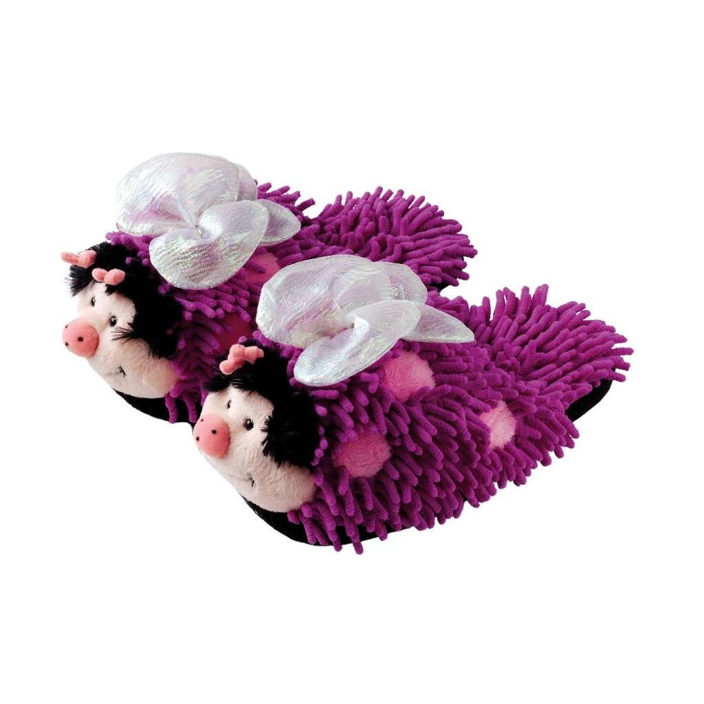 Aroma Home Fuzzy Friends Slippers - Purple Butterfly (Adult)
