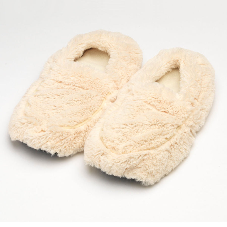 Intelex Furry Warmers Microwavable Slippers - Cream