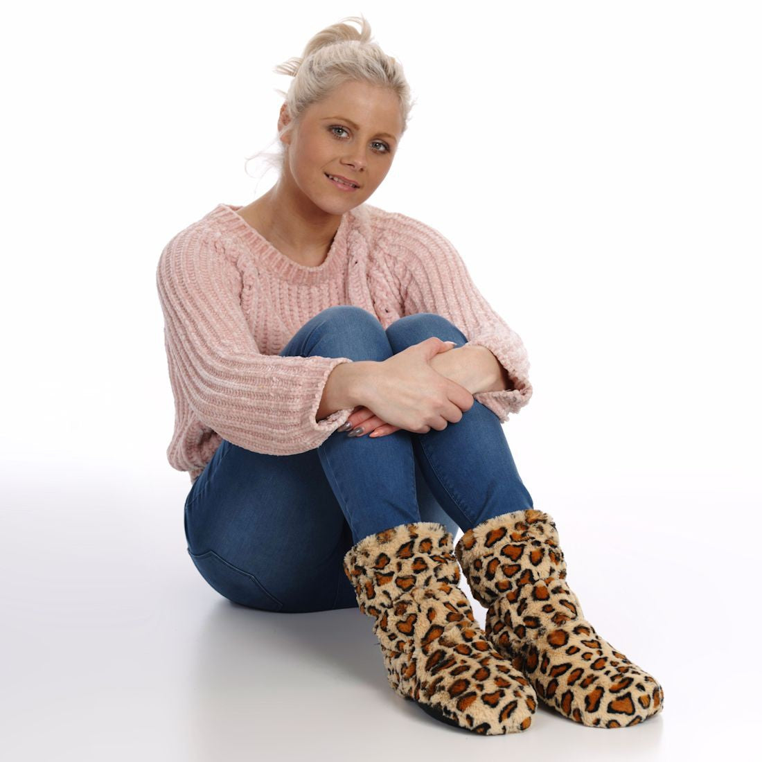 Zhu-Zhu Leopard Plush Feet Warmers - Microwavable Slipper Boots