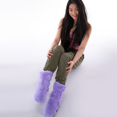 Zhu-Zhu Lilac Plush Feet Warmers - Microwavable Slipper Boots