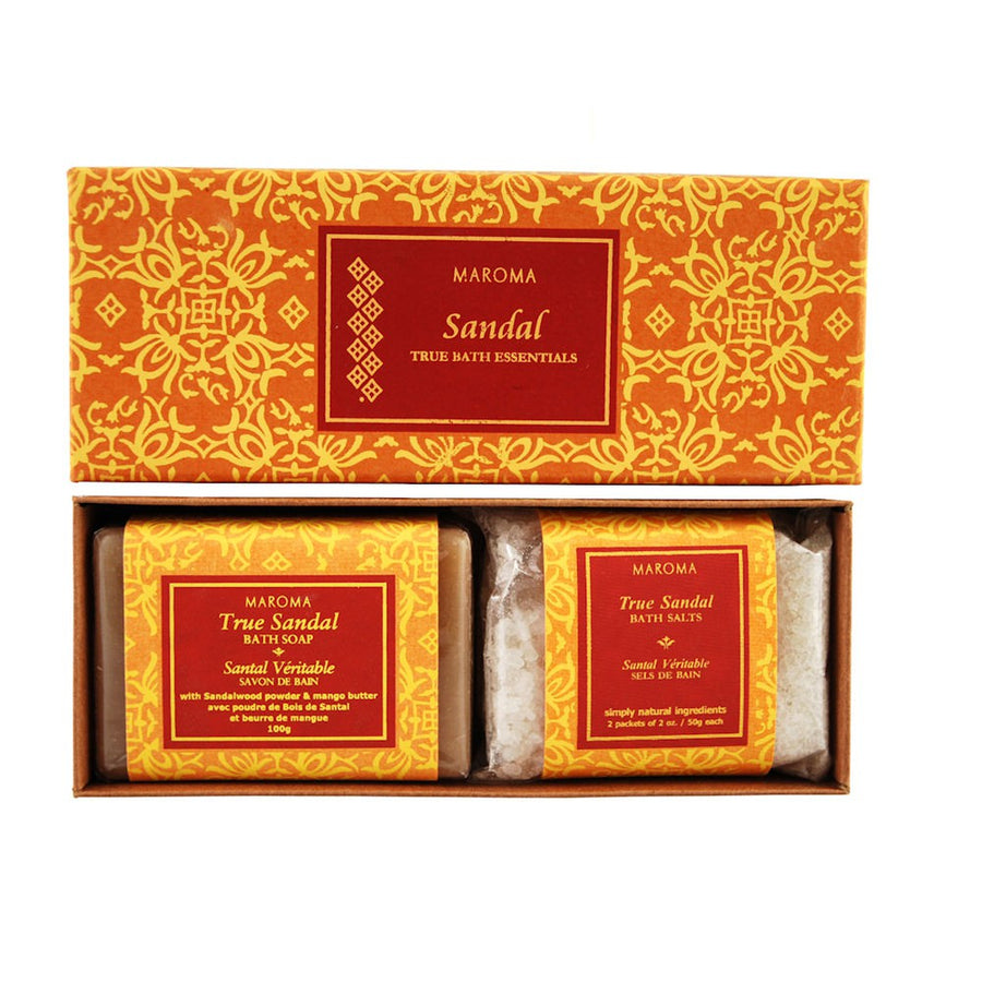 Maroma True Bath Gift Set Soap & Bath Salts - Sandal