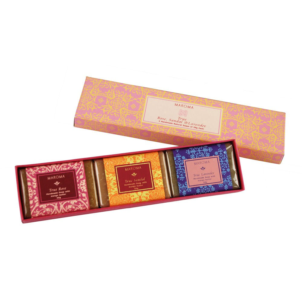 Maroma True Bath Set 3 Guest Soaps - Pink Box
