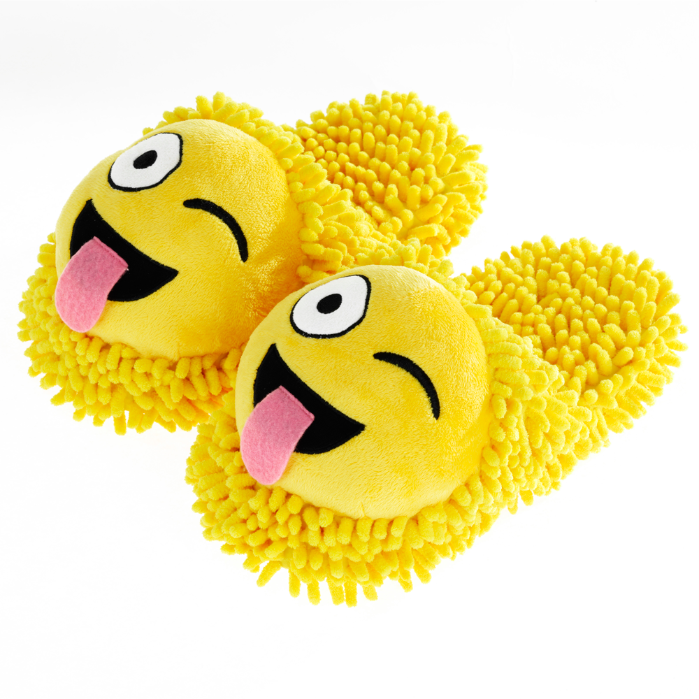 Aroma Home Fuzzy Friends Slippers - Wink Emoji