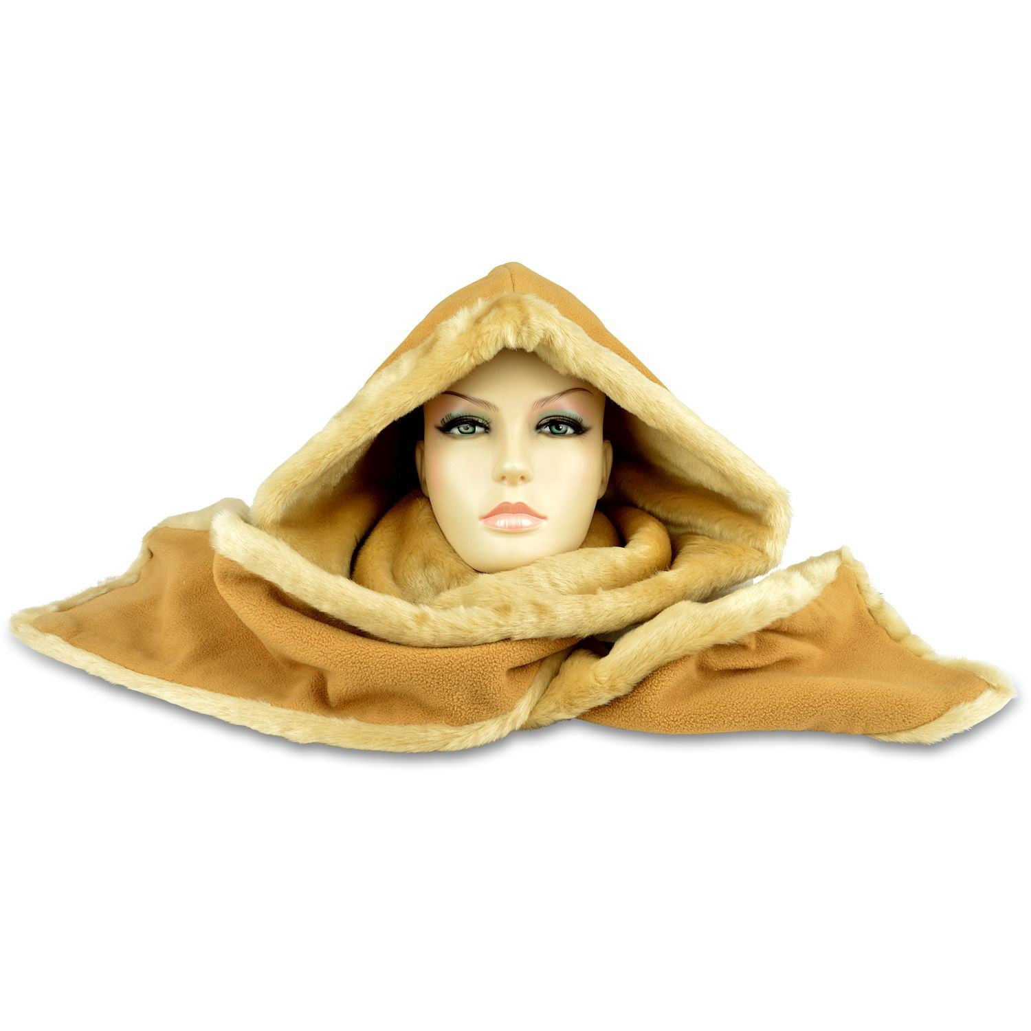 Hooded Scarf – Fleece & Faux Fur - Camel