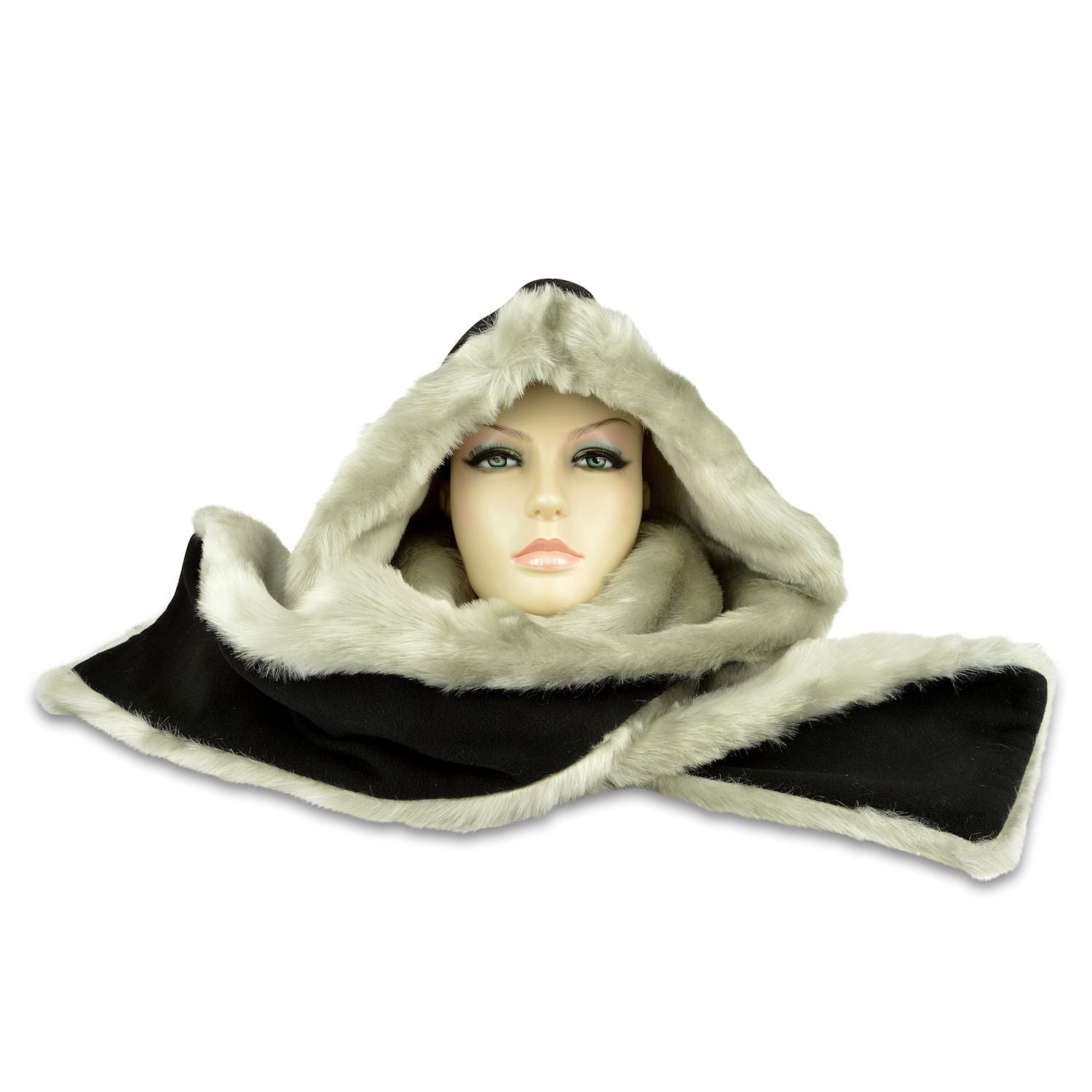 Hooded Scarf – Fleece & Faux Fur - Black Fleece / Silver Fur
