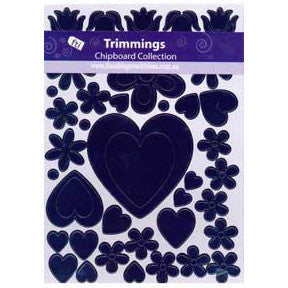 Chipboard Hearts and Flowers - Black