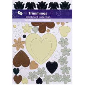 Chipboard Hearts and Flowers - Wintertime