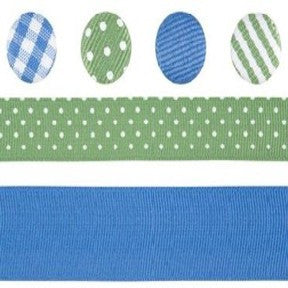 Ribbon & Brad Set - Blue/Green