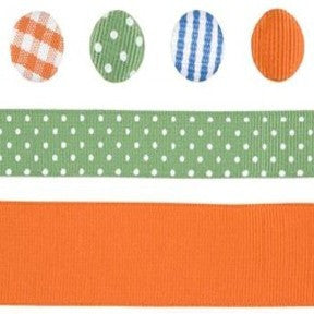 Ribbon & Brad Set - Blue/Green/Orange
