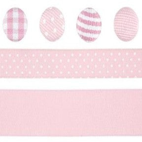 Ribbon & Brad Set - Dark Pink/Light Pink