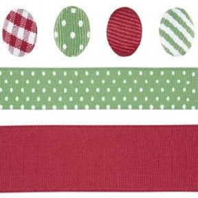 Ribbon & Brad Set - Green/Red