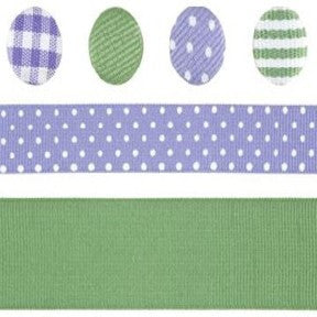 Ribbon & Brad Set - Lavender/Green