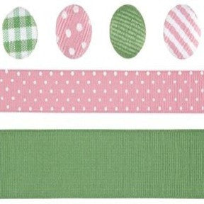 Ribbon & Brad Set - Pink/Green