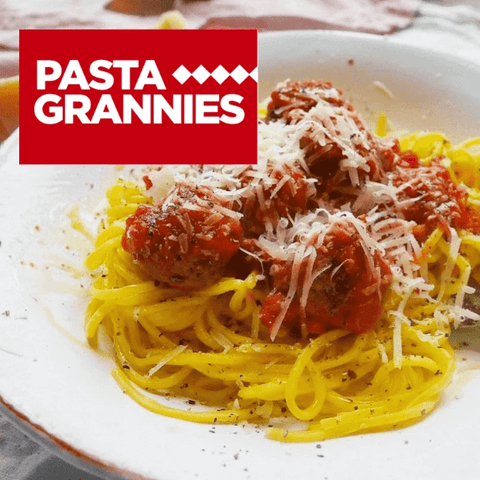pasta grannies x pasta evangelists - spaghetti with meatballs