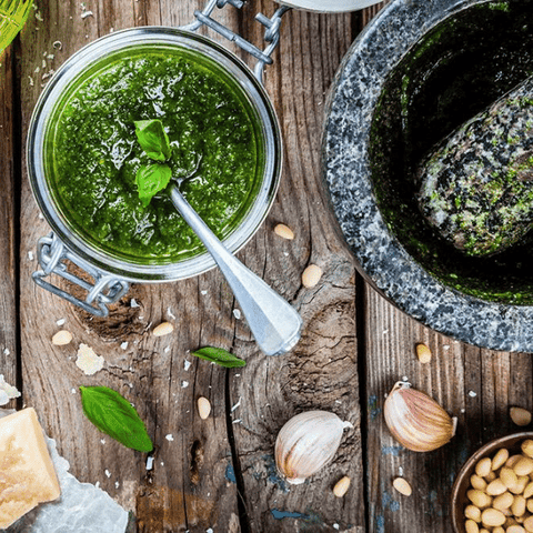 pesto alla genovese with ingredients